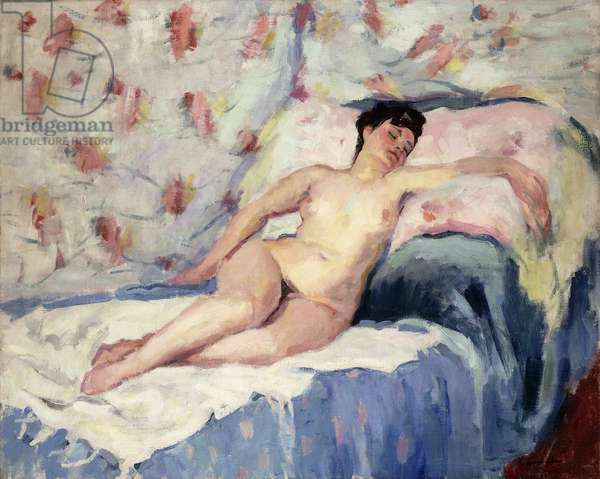 Nude on a Bed with Arm Outstretched; Nu Allonge sur un Lit,  (oil on canvas)