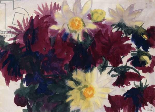 Chrysanthemums and Dahlias; Chrysanthemen und Dahlien, c.1930 (watercolour on japan paper)