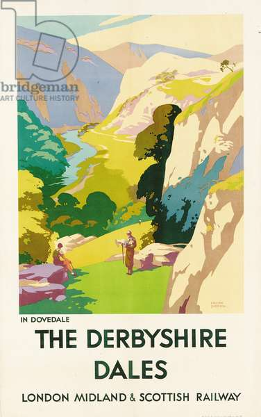 'The Derbyshire Dales', poster advertising London Midland & Scottish Railway (colour litho)