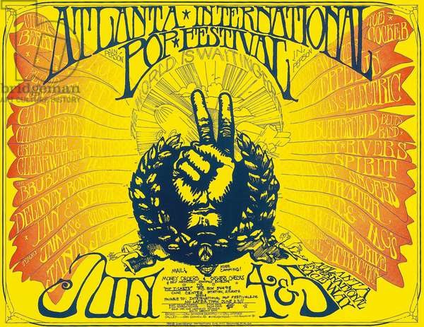 A concert poster Atlanta International Pop Festival, Middle Georgia Raceway, Atlanta, U.S.A, featuring Led Zeppelin, Chuck Berry, Blood Sweat And Tears and Janis Joplin, 4 & 5 July 1969 (colour litho)