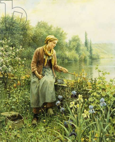 Fishing on a Spring Day,  (oil on canvas)