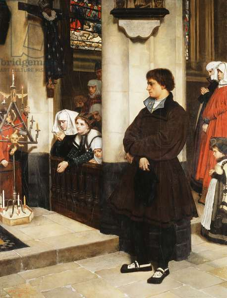 Pendant l'Office (Martin Luther's Doubts), 1860 (oil on panel)