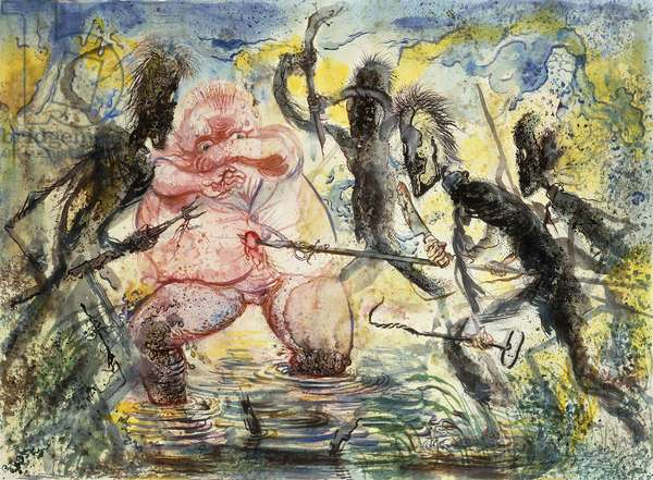 Attacked by the Stickmen, c.1947 (watercolour and black ink on paper)