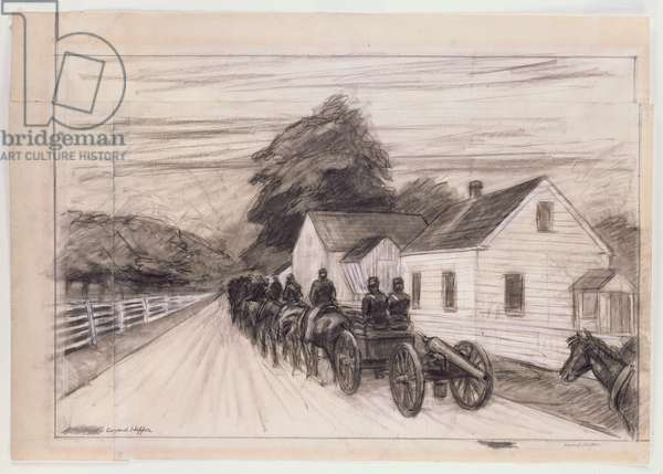 Study for 'Light Battery at Gettysburg' (charcoal & wash on paper)