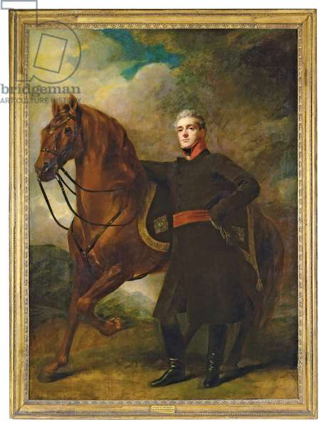 Portrait of Alexander Douglas-Hamilton, 10th Duke of Hamilton and 7th Duke of Brandon, full-length, in uniform, with his Arabian charger, in a landscape (oil on canvas)