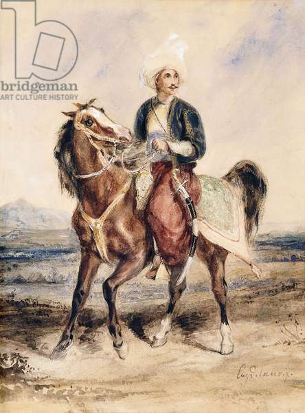 An Arab Warrior on Horseback in a Landscape,  (black lead, watercolour and gum arabic on paper)