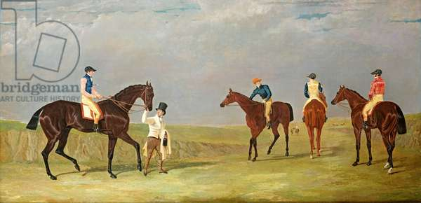"""Preparing to start for the Doncaster Gold Cup, 1825, with Mr. Whitaker's """"Lottery"""", Mr. Craven's """"Longwaist"""", Mr.Lambton's """"Cedric"""" and Mr. Farquharson's """"Figaro"""""""