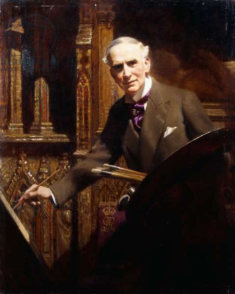Portrait of the artist, standing three quarter length, in Westminster Abbey making sketches for the 1937 Coronation Picture, 1937 (oil on canvas)