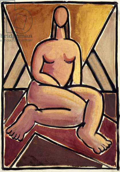 Seated Nude; Denudo Sentado, c.1938 (gouache and watercolour on paper laid down on canvas)