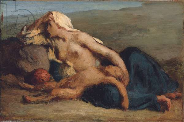 Hagar and Ishmael (oil on panel)
