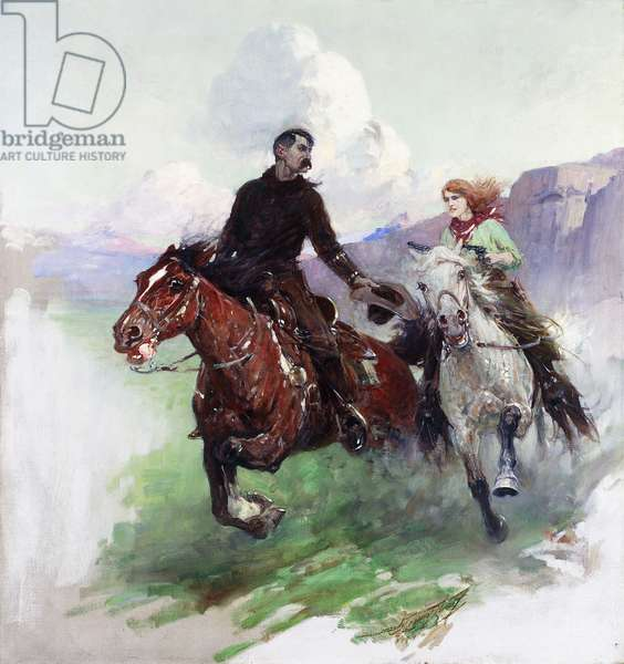 Riding Hard with Two Shooters, 1919 (oil on canvas)