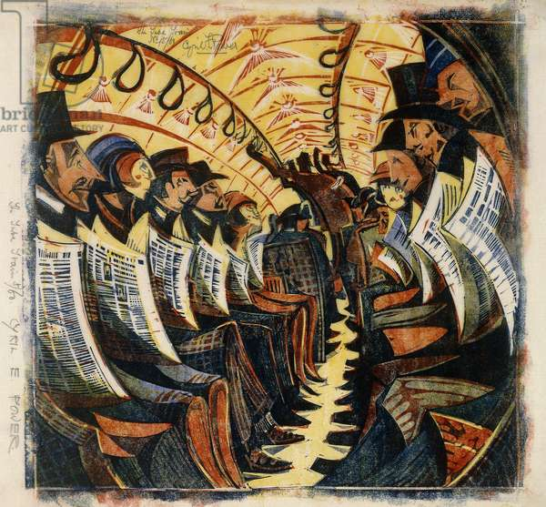 The Tube Train, c.1930 (linocut printed in colours on tissue japan)
