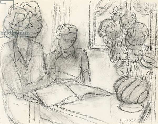 The Lecture, 1947 (charcoal and estompe on laid paper)