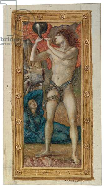 The Triumph of Love (or Amor Vincit Omnia): Fama (one of four panels), 1871 (watercolour and bodycolour heightened with gold on canvas, laid down on paper)