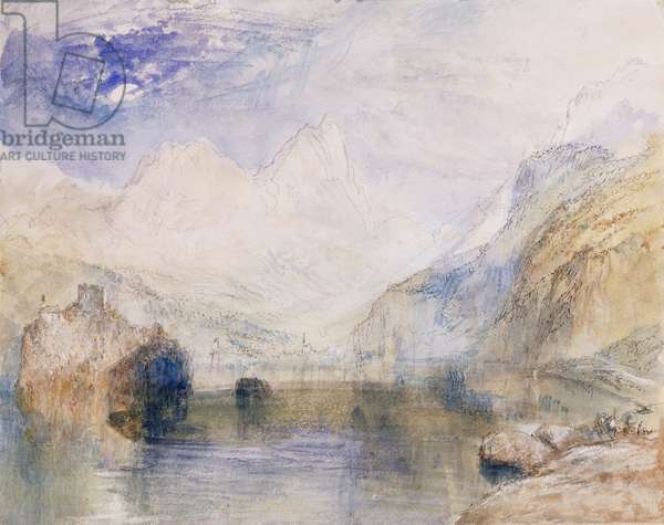 The Lauerzersee with Schwyz and the Mythen,  (pencil, pen and grey ink with watercolour)