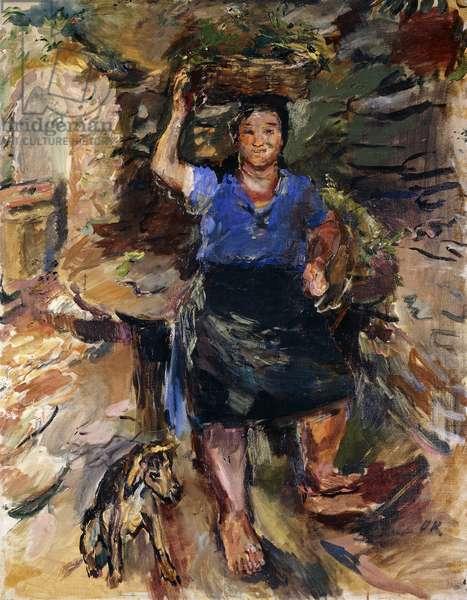 Peasant Girl with Basket and Dog; Bauermadchen mit Korb und Hund, 1930 (oil on canvas)
