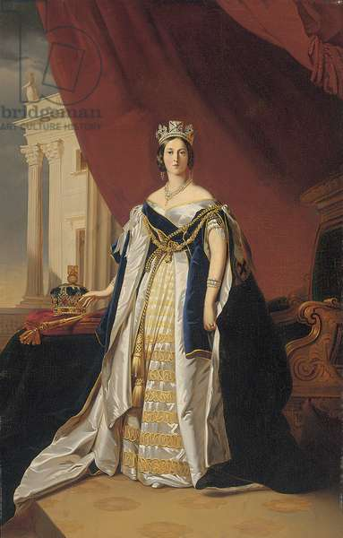 Portrait of Queen Victoria in coronation robes (oil on paper laid down on canvas)