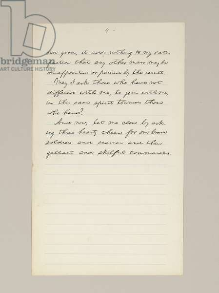 Autograph manuscript of Lincoln's election victory speech as President, delivered in Washington D.C., from the window of the White House on the evening of 10th November, 1864 (pen & ink on paper) (see also 489209, 10 and 488337)