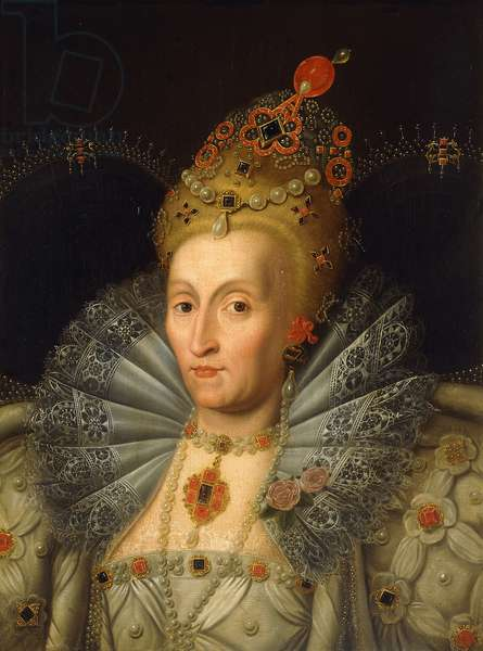 Portrait of Queen Elizabeth I, bust length,  (oil on canvas)
