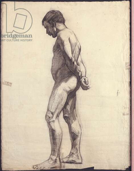 Standing male nude (charcoal on paper)