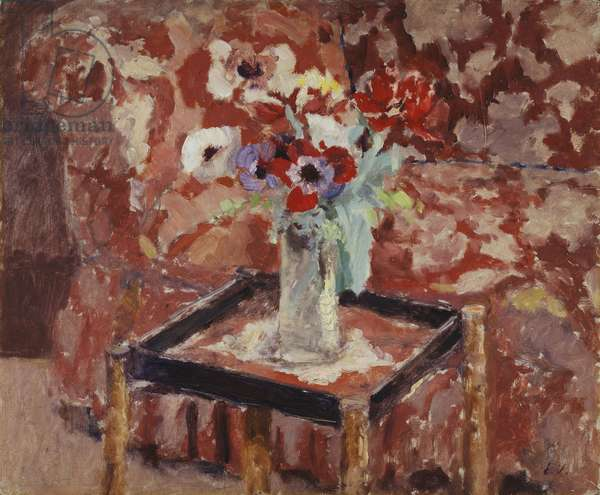 Vase of Anemones on a Table, c.1906 (oil on board laid down on cradled panel)