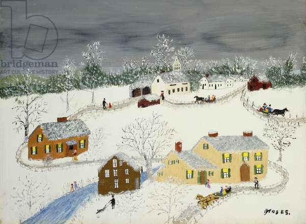 Early Snow, 1959 (oil and glitter on masonite)