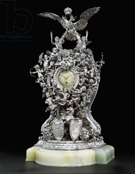 The Alexander III 25th Anniversary Wedding Clock, 1891 (silver, onyx & diamonds)