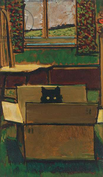 Cat in a cardboard box (oil on board)