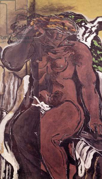 Seated bather with arm raised, 1926 (oil)
