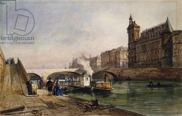On the Seine, Paris, (pencil and watercolour)