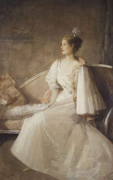 Portrait of a Lady seated on a Sofa, c.1900 (oil on canvas)
