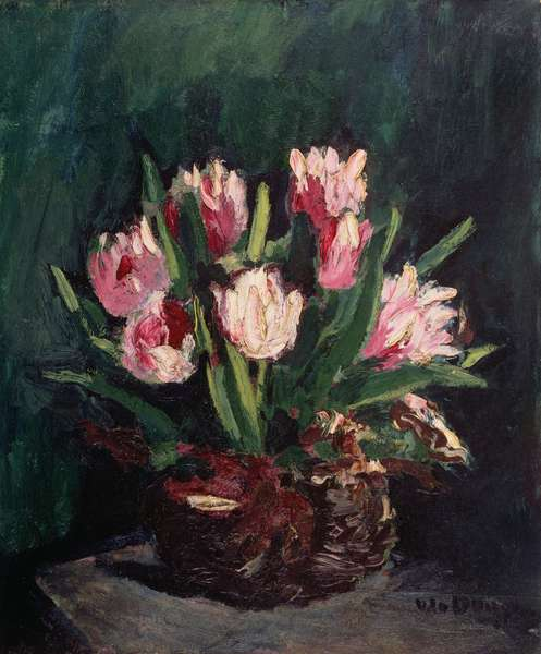 Tulips and Roses (oil on canvas)
