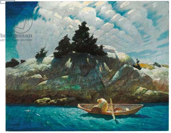 Black Spruce Ledge (Lobstering Off Black Spruce Ledge), 1939 (tempera on panel)