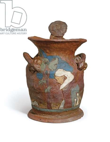 Breton Woman and Young Breton; Bretonne et chef modele de jeune Breton, 1886-1887 (partially painted unglazed reddish-brown stoneware vase)