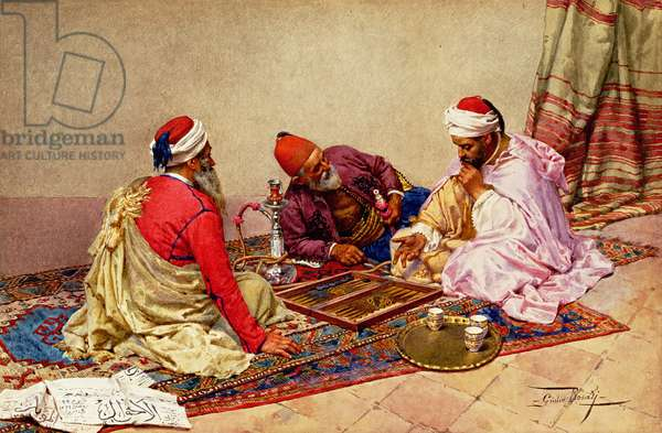 The Backgammon Players (w/c on paper)