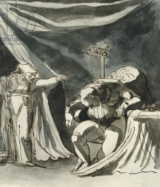 An Old Woman Wearing a Rosary Cursing a Seated Man; Possibly Queen Margaret Cursing the Duke of Gloucester, (pencil, pen and brown ink, grey wash)