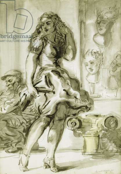 A Wind-Blown Skirt: A Double-sided drawing, 1944 (brush and black ink, ink wash, and watercolour on paper)