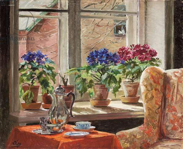 Cineraria on the Window-Sill (oil on canvas)