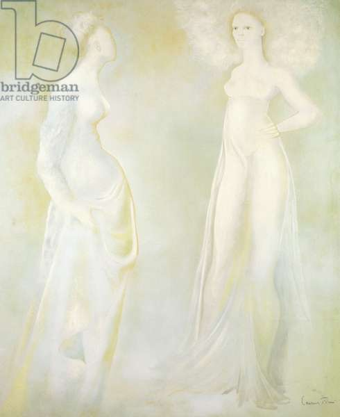 Two Standing Women,  (watercolour, pastel, pen and black ink on paper)