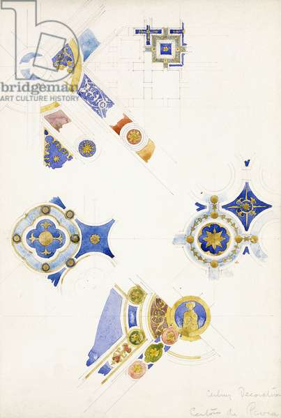 Certosa di Pavia, studies of the ceiling decoration, 1891 (pencil, watercolour)