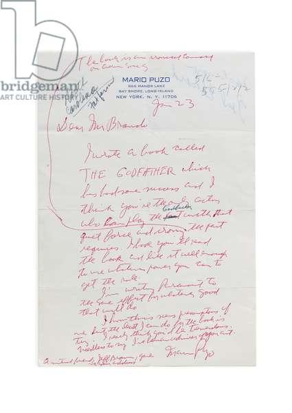 Autograph letter to Marlon Brando, c.1970 (pen on paper)