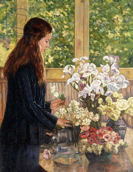 Young Girl with Vases of Flowers,  (oil on canvas)