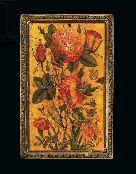 A Zand Polychrome Lacquer Papier-Mache Rectangular Mirror Case, Signed by Muhammad Baqir, Iran, 1732-33