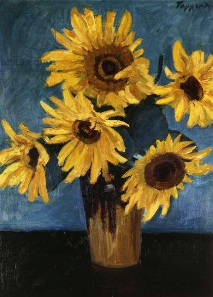 Sunflowers in a Vase; Sonnenblumen in Vase, (oil on canvas)