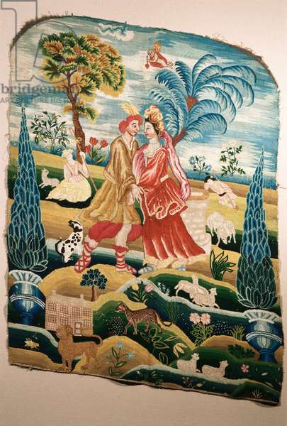 A chair back or panel for a screen, depicting a couple in love