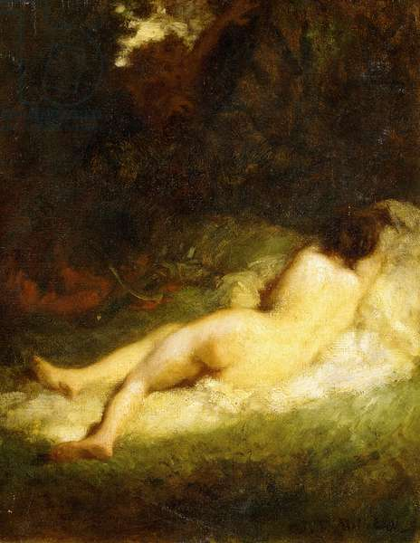 A Sleeping Nymph Blocked by a Satyr, c.1846-47 (oil on canvas)