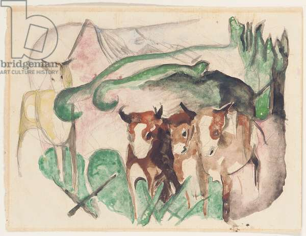 Animals in a landscape (three cows and a horse), 1913 (w/c on paper)