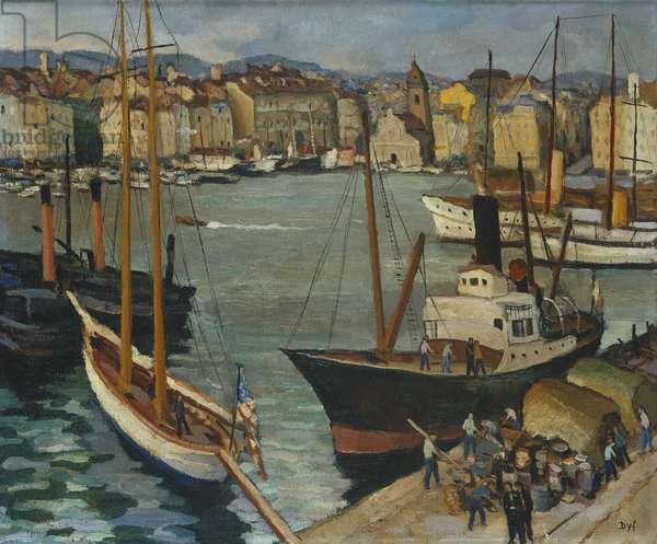 Le Port de Marseille, (oil on canvas)