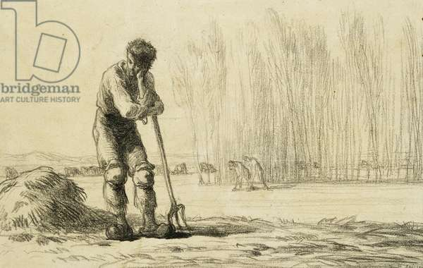 Peasant Leaning on a Pitchfork, (black crayon on paper)