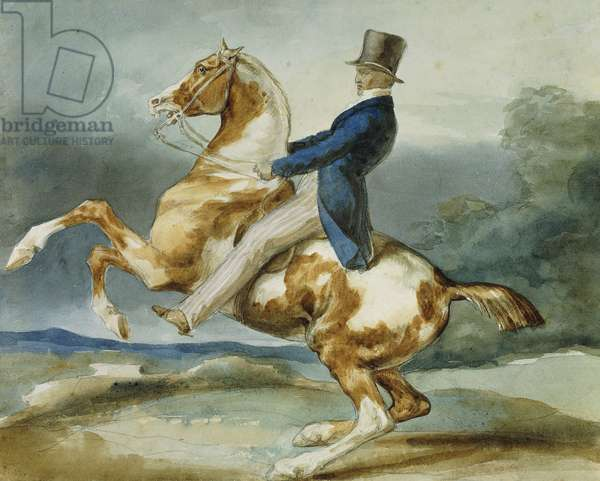A Rider and His Rearing Horse; Un Cavalier Cabrant Son Cheval,  (black chalk and watercolour)